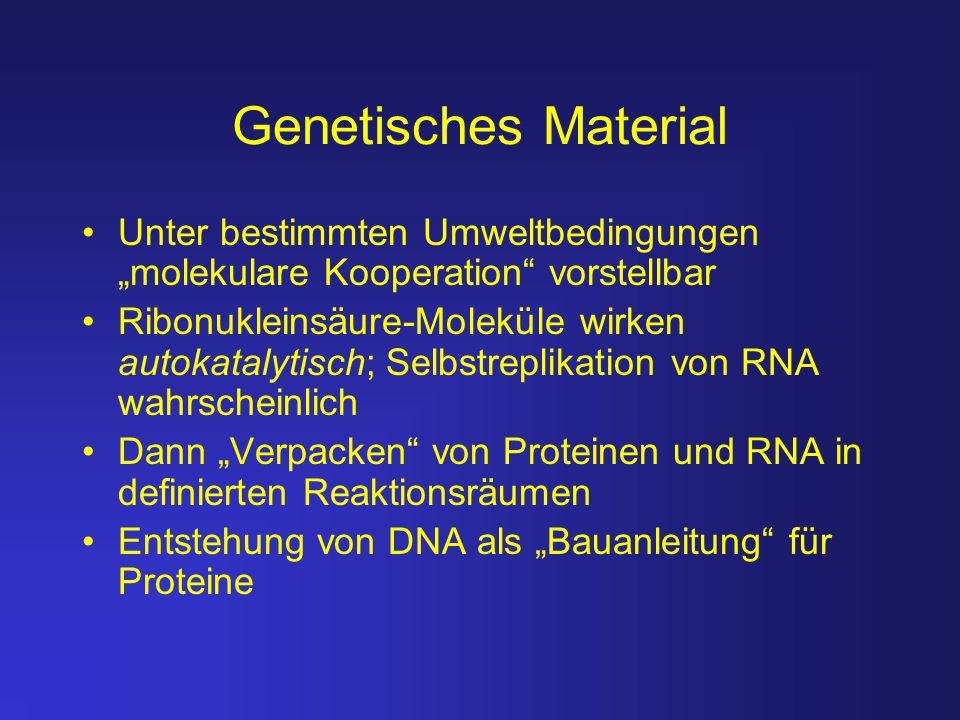 """Genetisches Material Unter bestimmten Umweltbedingungen """"molekulare Kooperation vorstellbar."""
