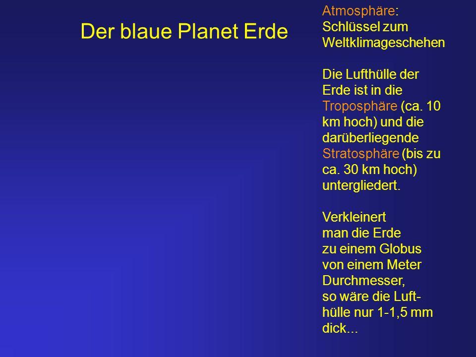 Der blaue Planet Erde Atmosphäre: Schlüssel zum Weltklimageschehen