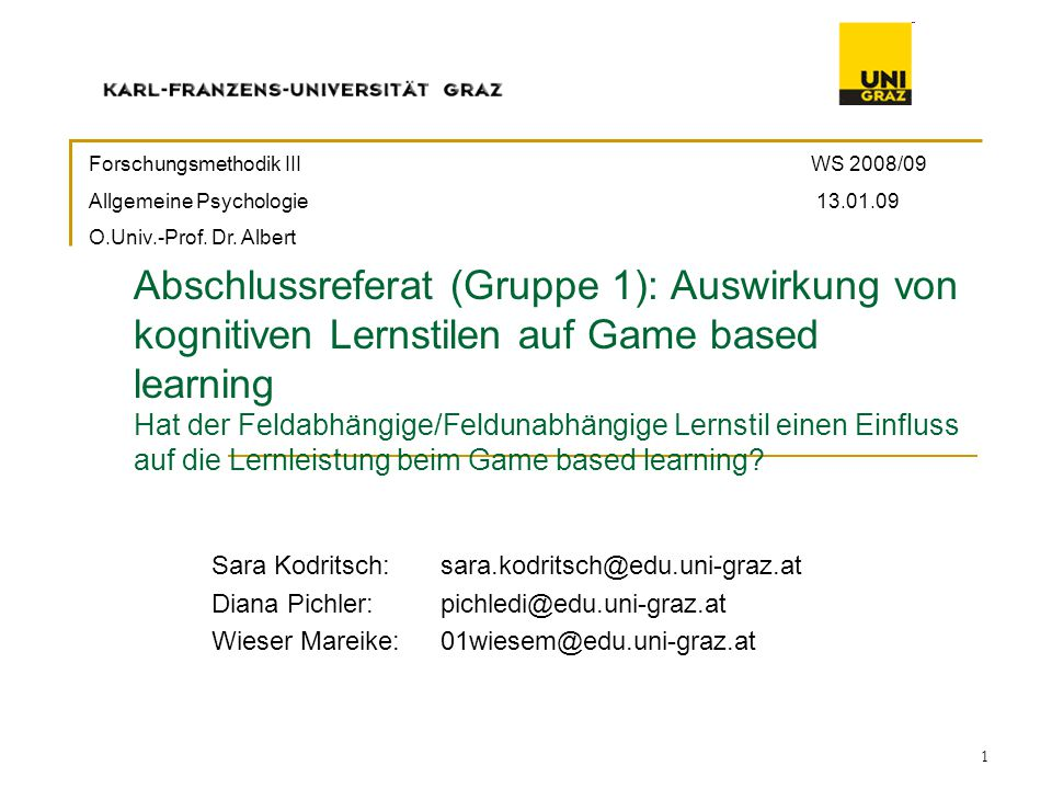 Forschungsmethodik III WS 2008/09
