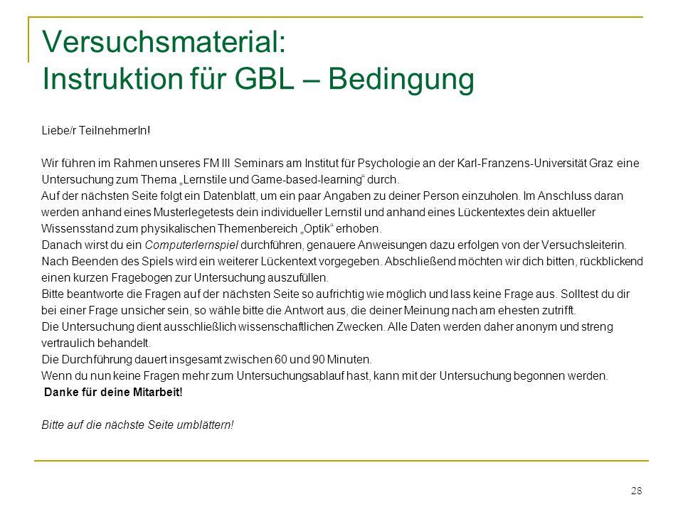Versuchsmaterial: Instruktion für GBL – Bedingung