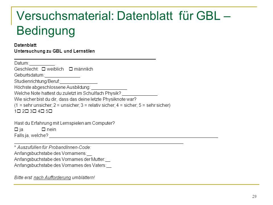 Versuchsmaterial: Datenblatt für GBL – Bedingung