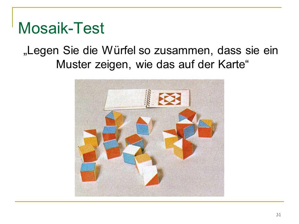 """Mosaik-Test """"Legen Sie die Würfel so zusammen, dass sie ein"""