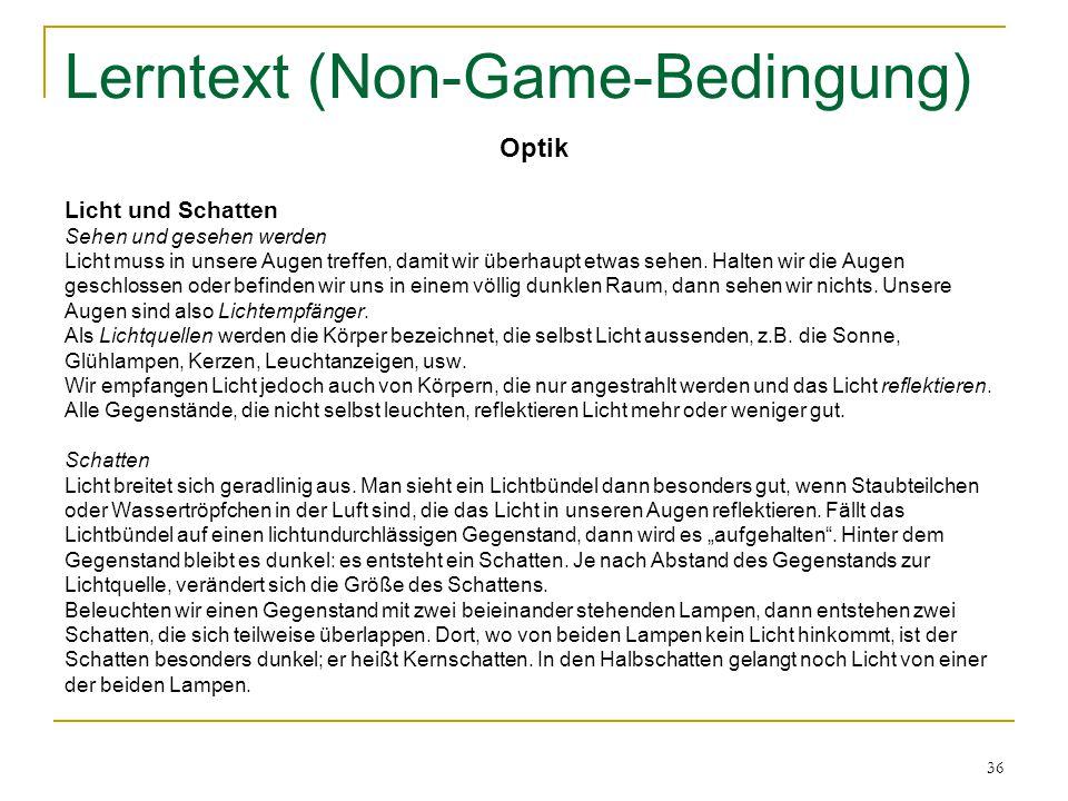 Lerntext (Non-Game-Bedingung)