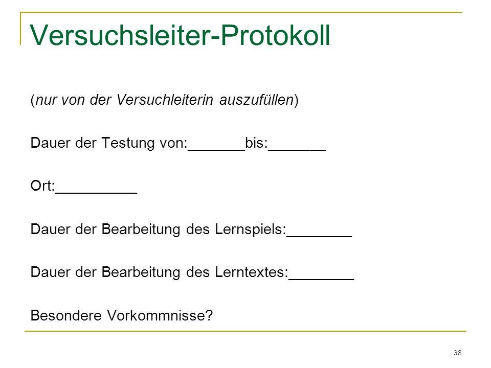 Versuchsleiter-Protokoll