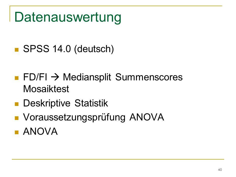 Datenauswertung SPSS 14.0 (deutsch)