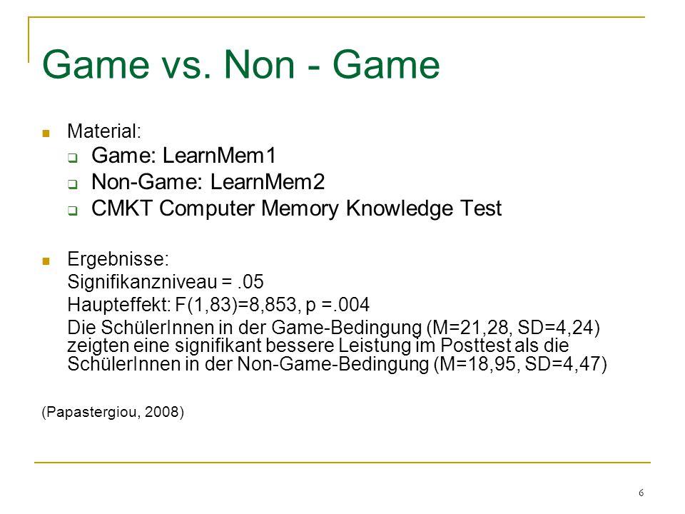Game vs. Non - Game Game: LearnMem1 Non-Game: LearnMem2