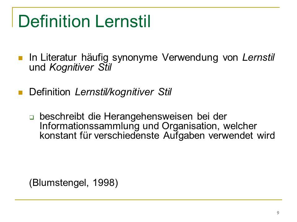 Definition Lernstil In Literatur häufig synonyme Verwendung von Lernstil und Kognitiver Stil. Definition Lernstil/kognitiver Stil.
