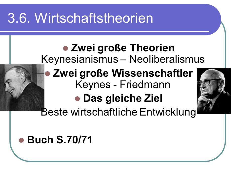 3.6. Wirtschaftstheorien Zwei große Theorien Keynesianismus – Neoliberalismus. Zwei große Wissenschaftler Keynes - Friedmann.