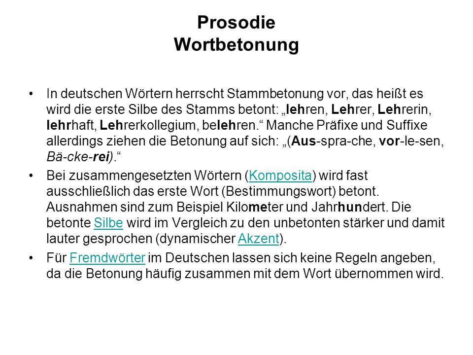 Prosodie Wortbetonung