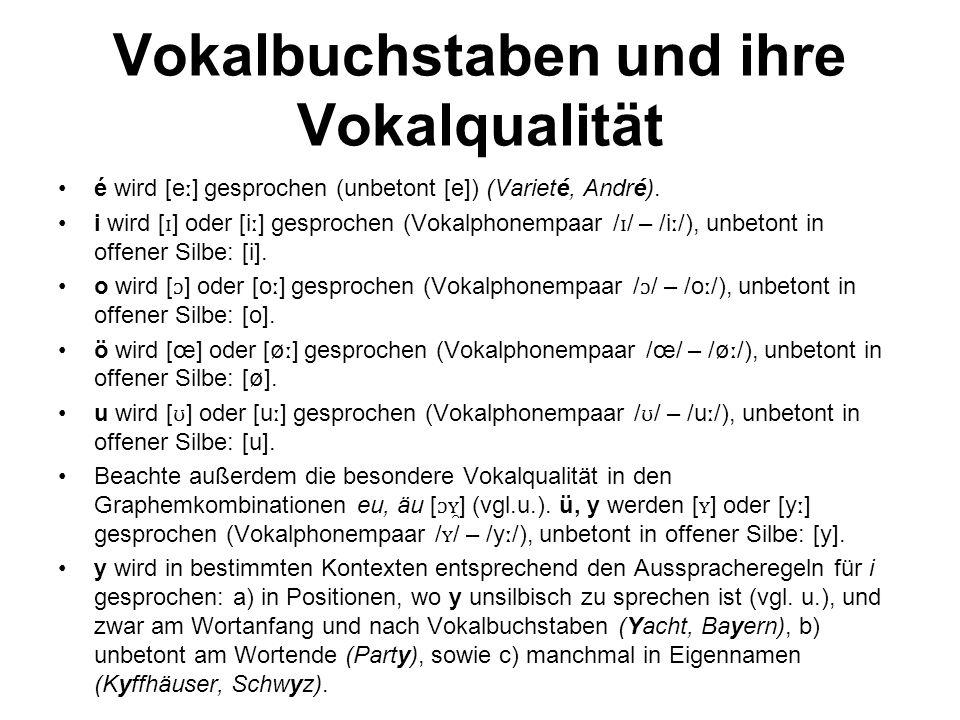 Vokalbuchstaben und ihre Vokalqualität