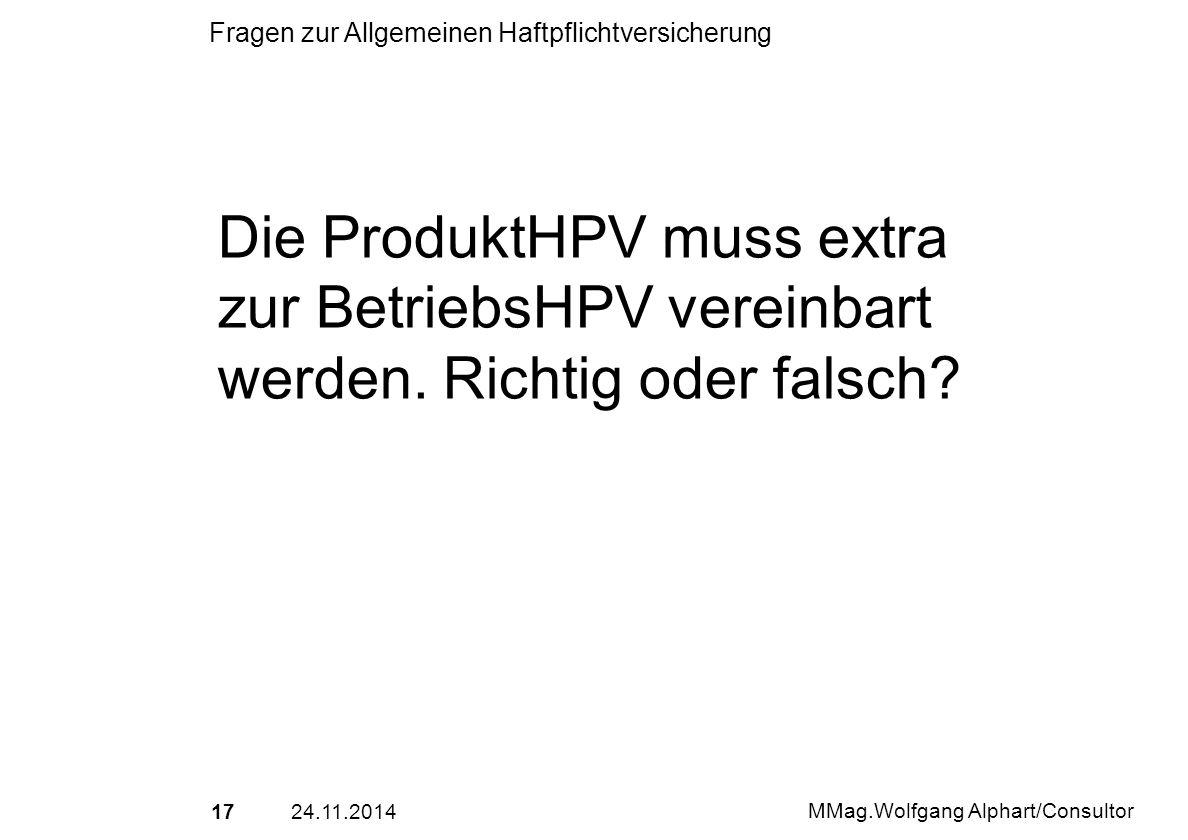 Die ProduktHPV muss extra