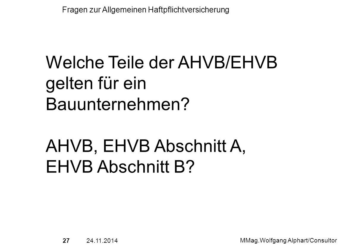 Welche Teile der AHVB/EHVB gelten für ein Bauunternehmen