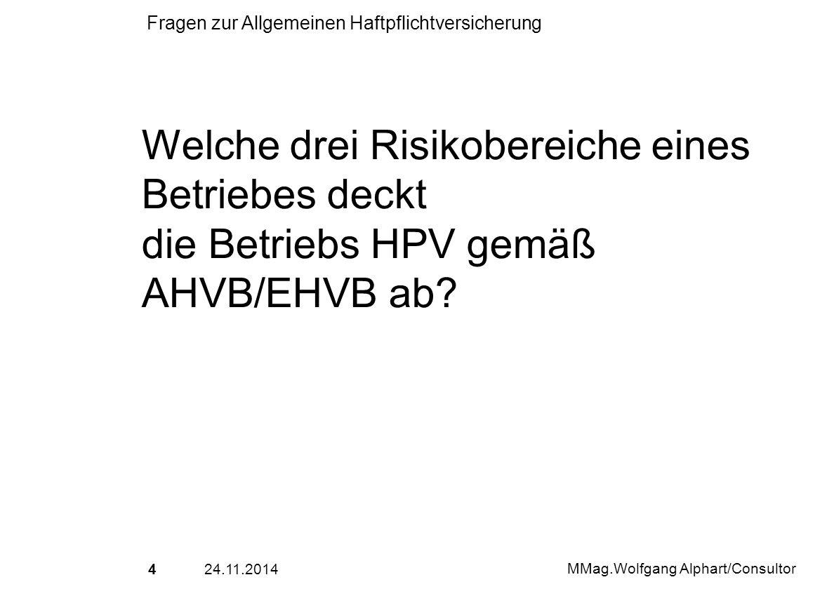 Welche drei Risikobereiche eines Betriebes deckt die Betriebs HPV gemäß AHVB/EHVB ab