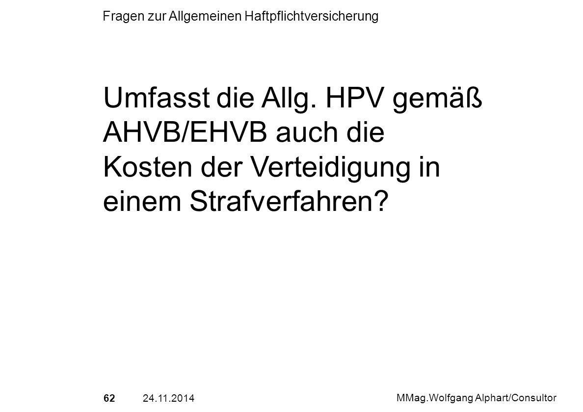 Umfasst die Allg. HPV gemäß