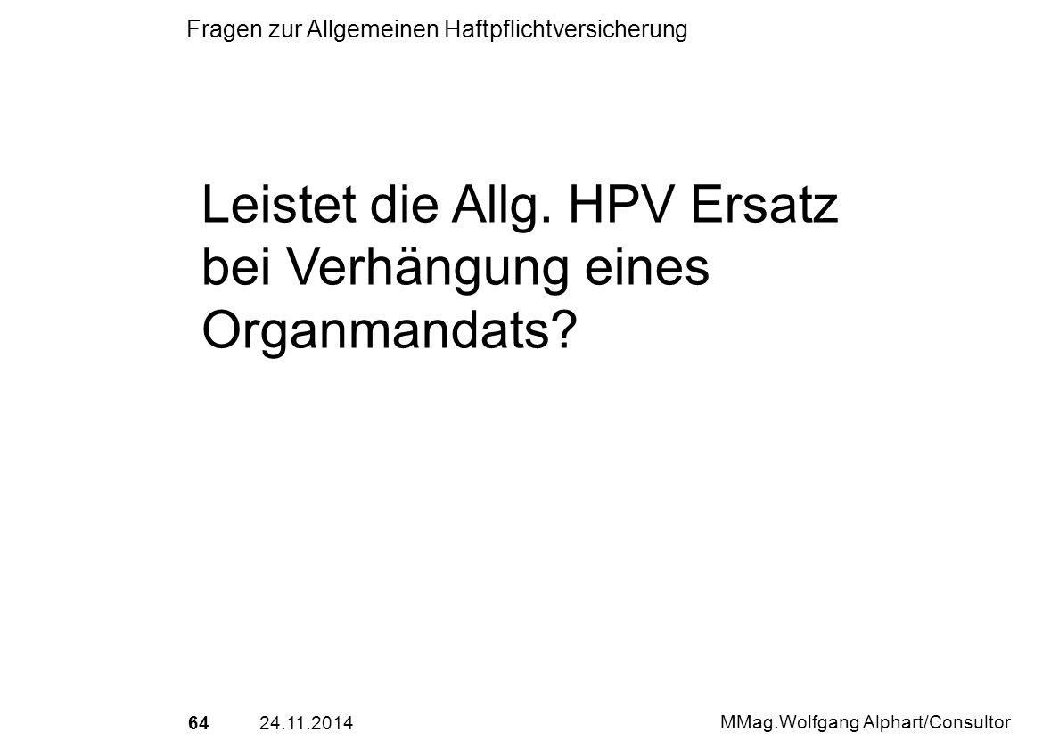 Leistet die Allg. HPV Ersatz