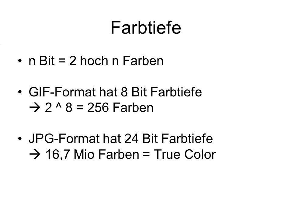 Farbtiefe n Bit = 2 hoch n Farben