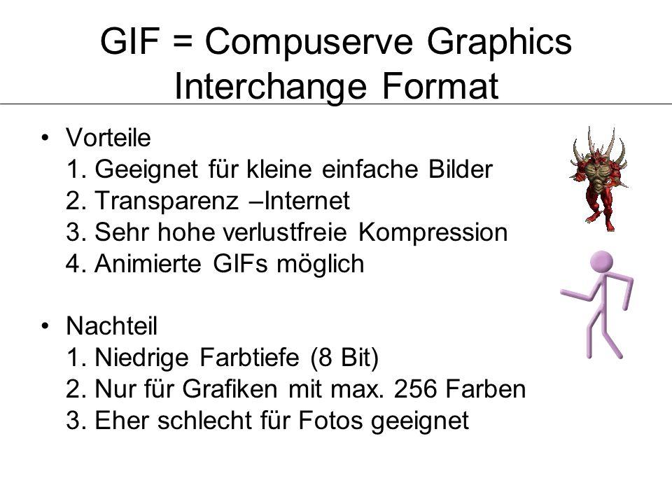 GIF = Compuserve Graphics Interchange Format
