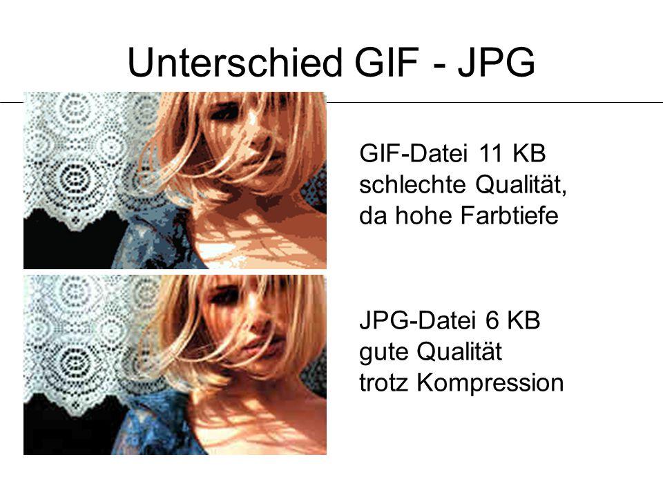 Unterschied GIF - JPG GIF-Datei 11 KB schlechte Qualität, da hohe Farbtiefe.
