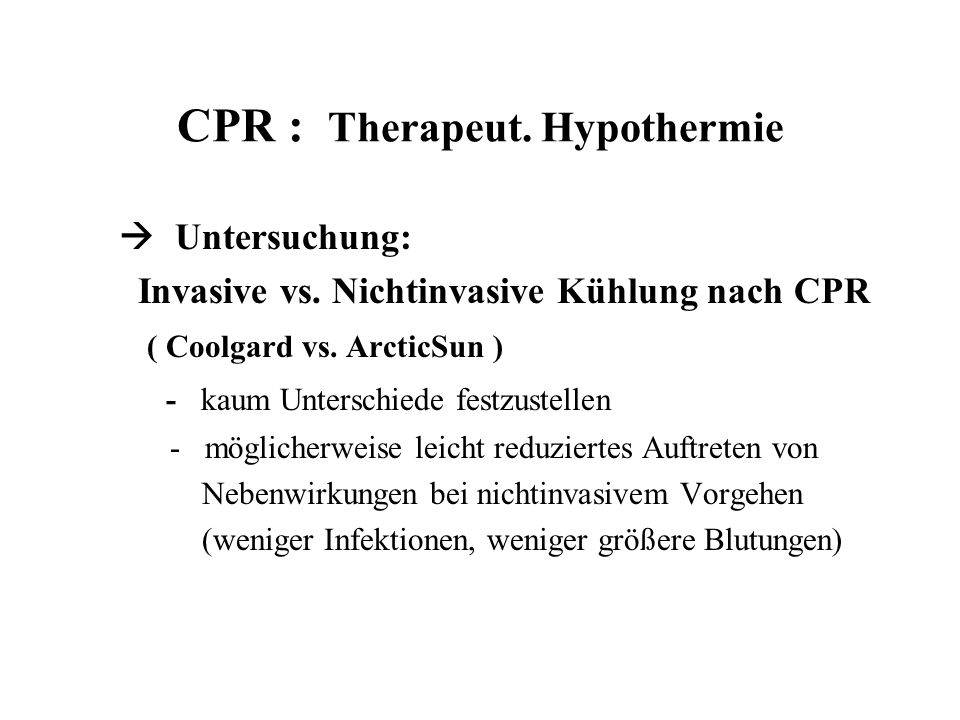 CPR : Therapeut. Hypothermie