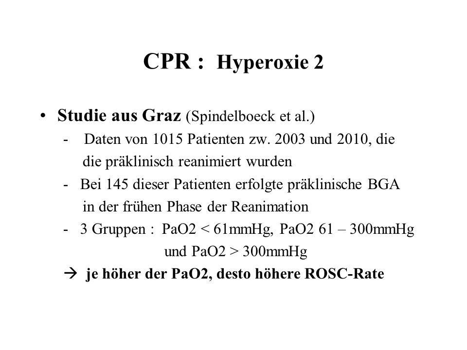 CPR : Hyperoxie 2 Studie aus Graz (Spindelboeck et al.)