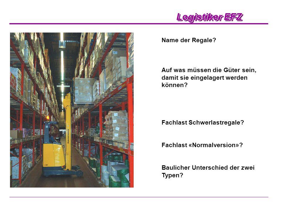 Name der Regale Auf was müssen die Güter sein, damit sie eingelagert werden können Fachlast Schwerlastregale