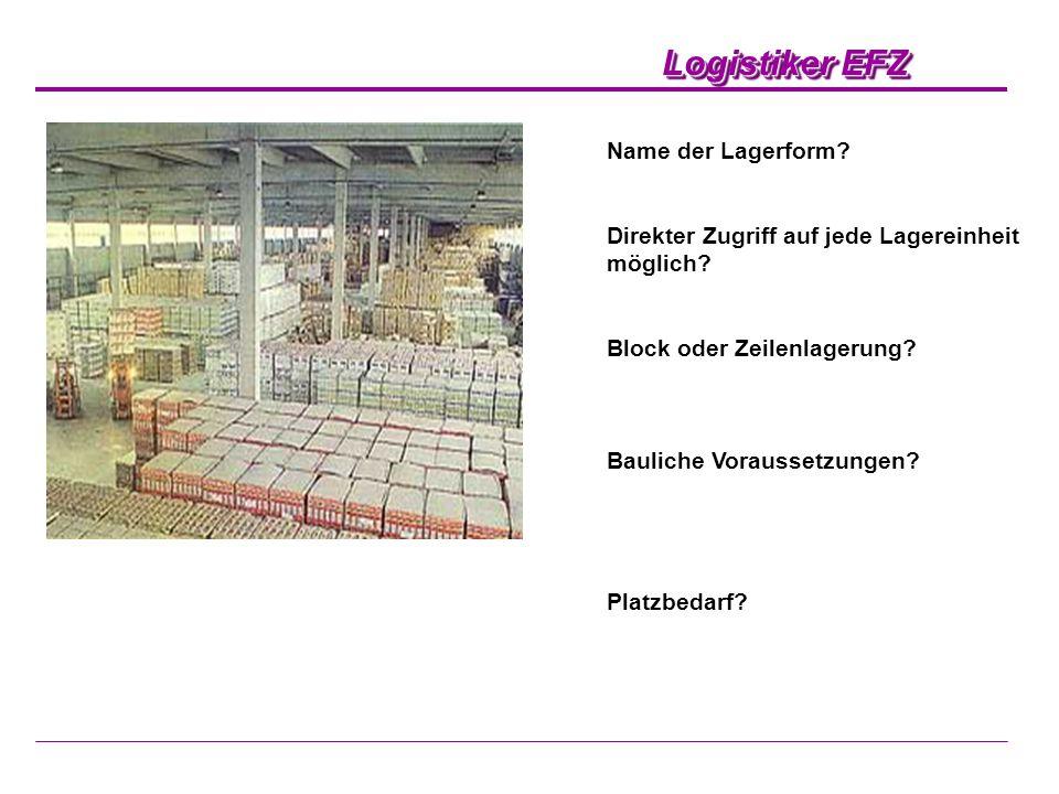 Name der Lagerform Direkter Zugriff auf jede Lagereinheit möglich Block oder Zeilenlagerung Bauliche Voraussetzungen