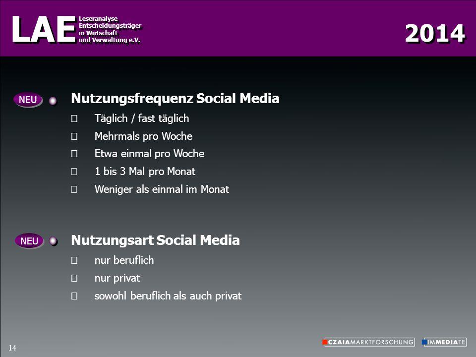 Nutzungsfrequenz Social Media