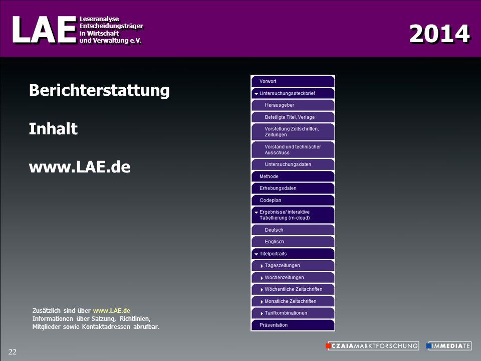 Berichterstattung Inhalt www.LAE.de Zusätzlich sind über www.LAE.de