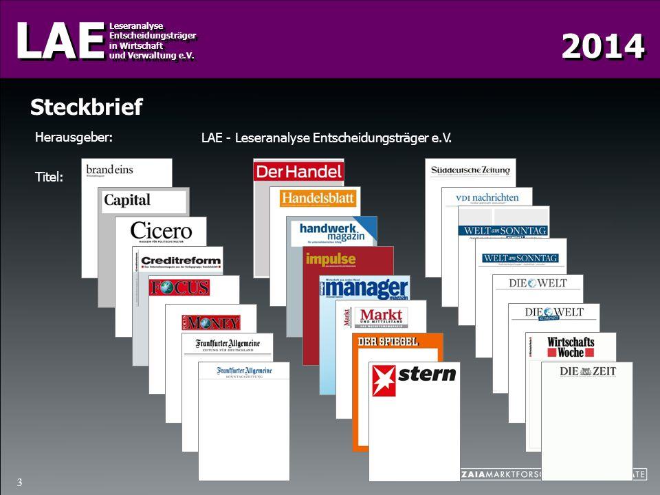 Steckbrief Herausgeber: LAE - Leseranalyse Entscheidungsträger e.V.