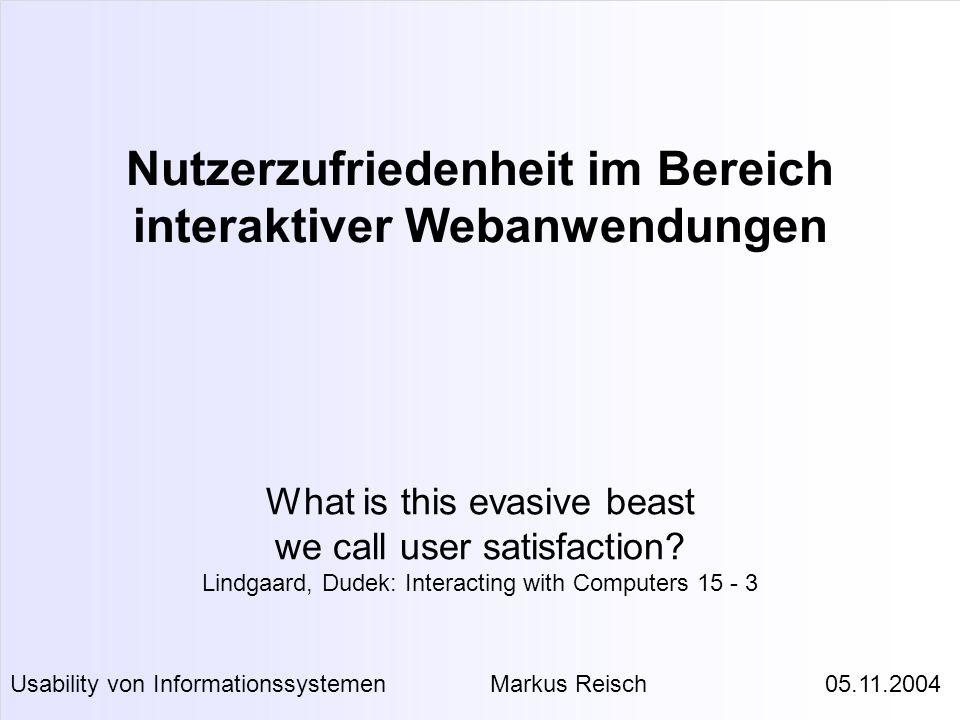 Nutzerzufriedenheit im Bereich interaktiver Webanwendungen