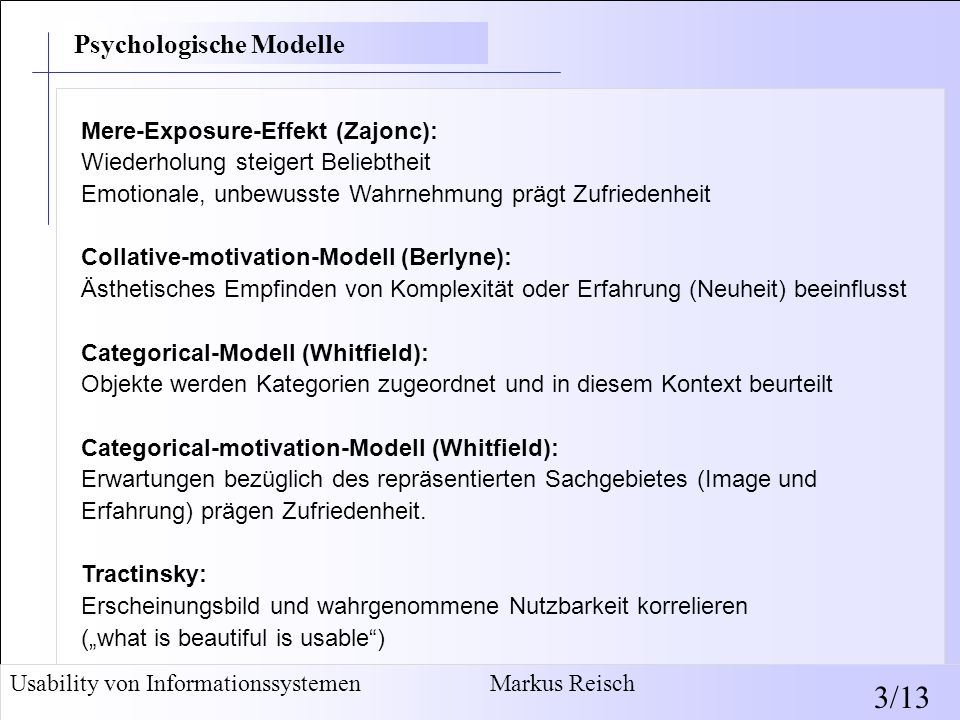 3/13 Psychologische Modelle Psychologische Modelle