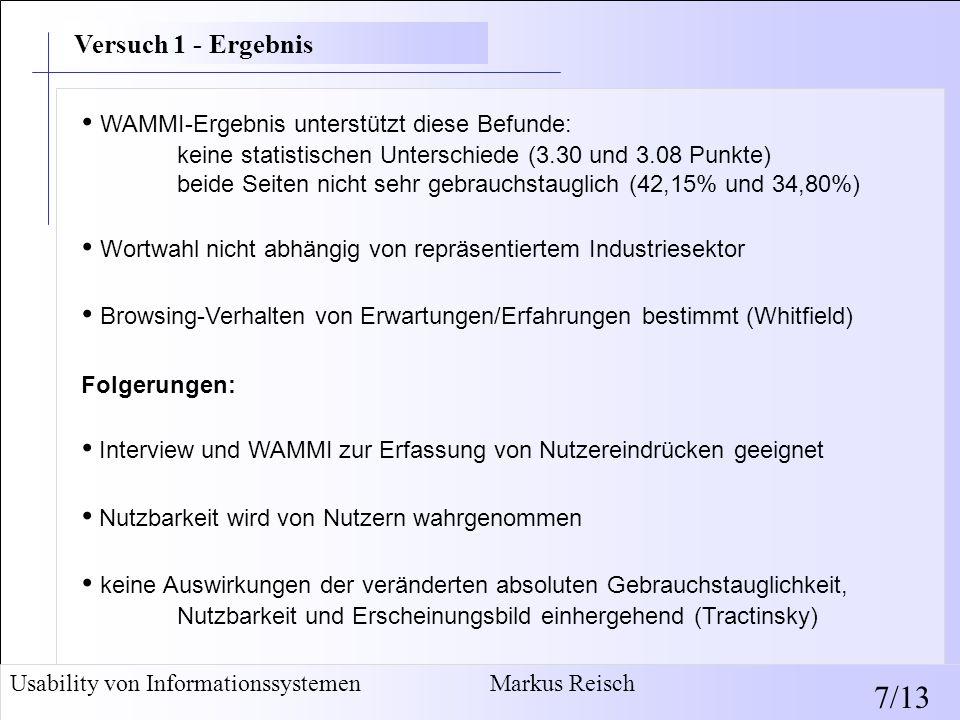 • WAMMI-Ergebnis unterstützt diese Befunde: