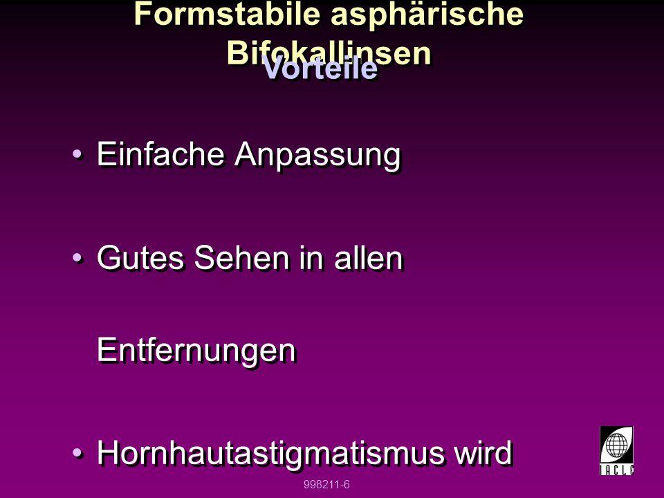 Formstabile asphärische Bifokallinsen