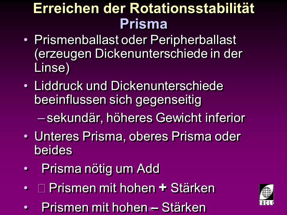 Erreichen der Rotationsstabilität Prisma