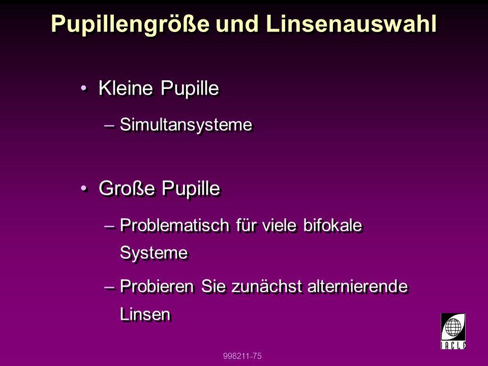 Pupillengröße und Linsenauswahl