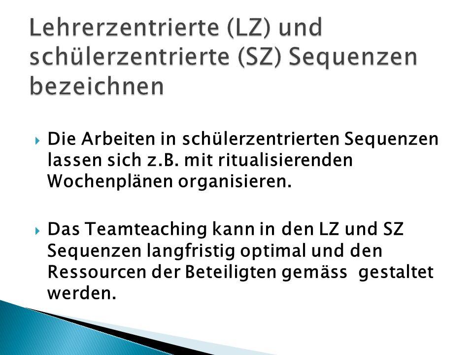 Lehrerzentrierte (LZ) und schülerzentrierte (SZ) Sequenzen bezeichnen