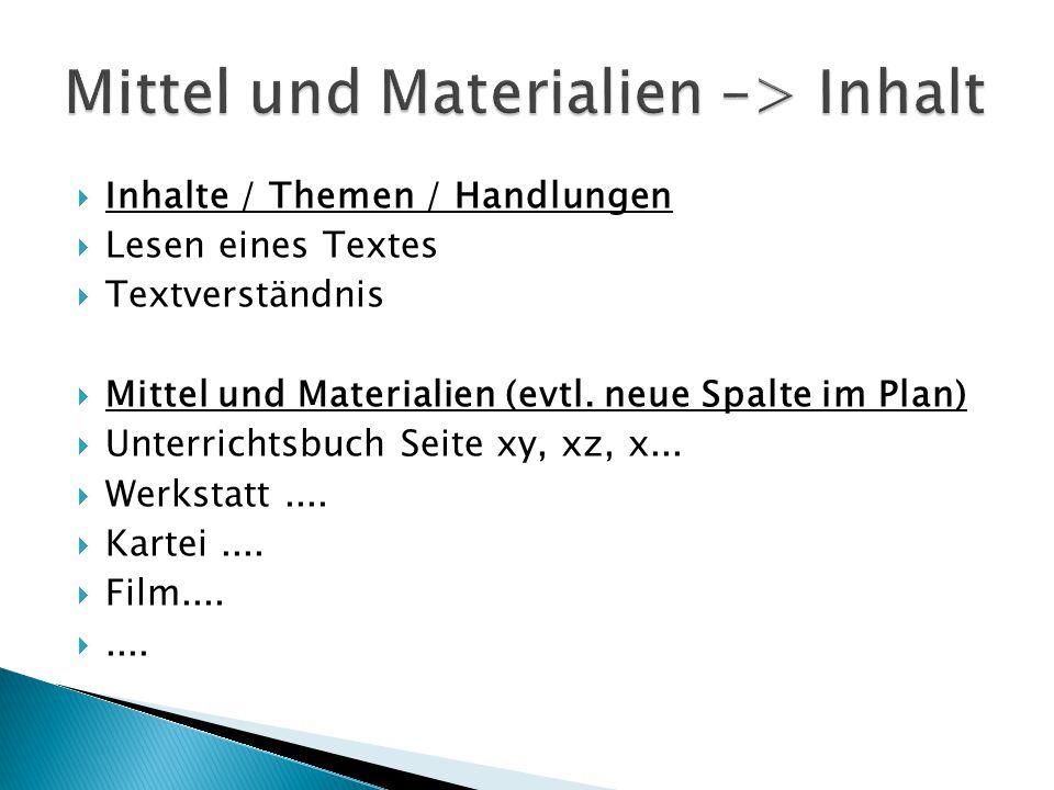 Mittel und Materialien –> Inhalt