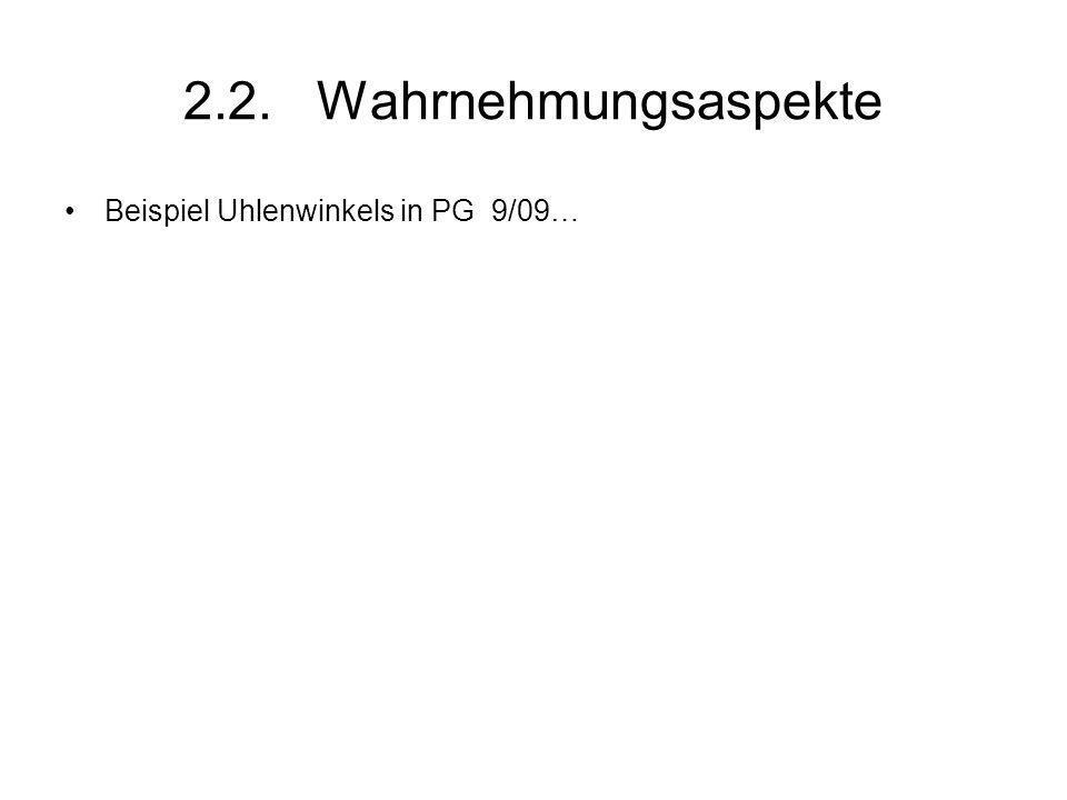 2.2. Wahrnehmungsaspekte Beispiel Uhlenwinkels in PG 9/09…