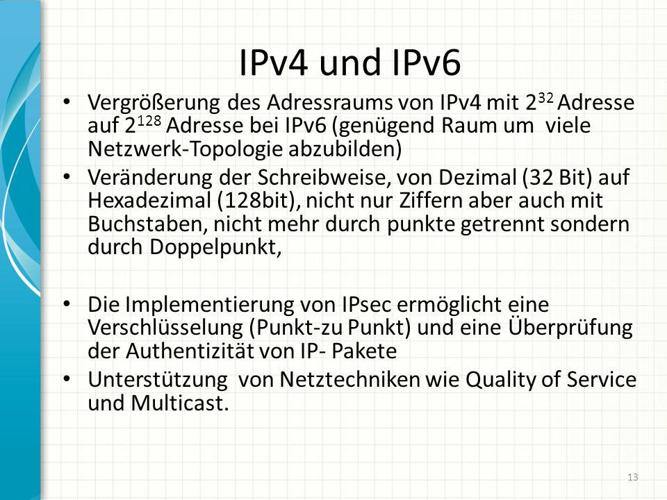 IPv4 und IPv6 Vergrößerung des Adressraums von IPv4 mit 232 Adresse auf 2128 Adresse bei IPv6 (genügend Raum um viele Netzwerk-Topologie abzubilden)