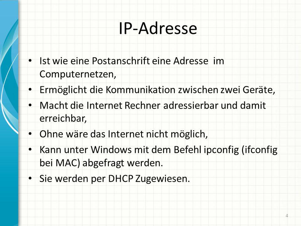 IP-Adresse Ist wie eine Postanschrift eine Adresse im Computernetzen,
