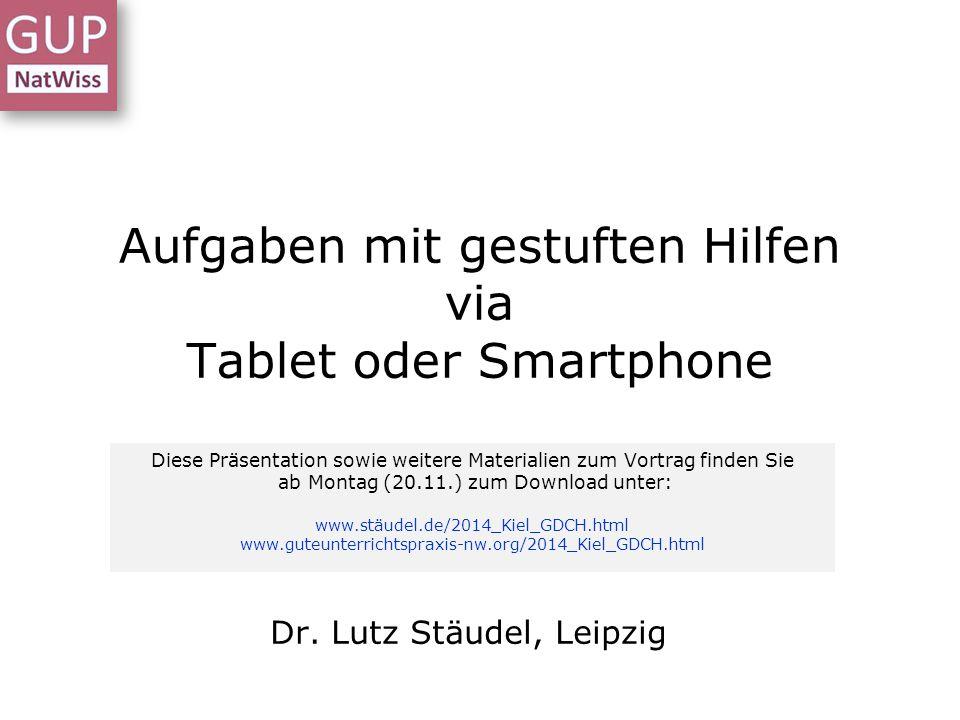 Aufgaben mit gestuften Hilfen via Tablet oder Smartphone