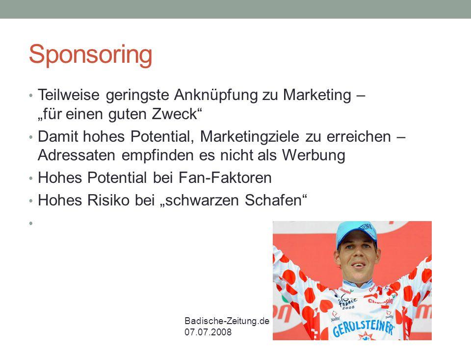 """Sponsoring Teilweise geringste Anknüpfung zu Marketing – """"für einen guten Zweck"""
