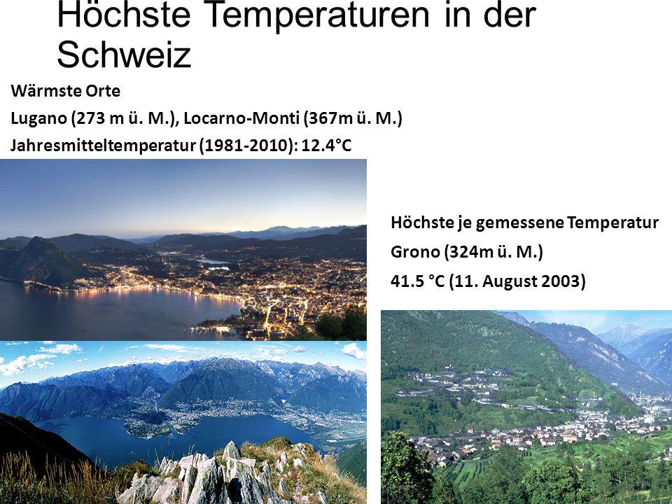 Höchste Temperaturen in der Schweiz