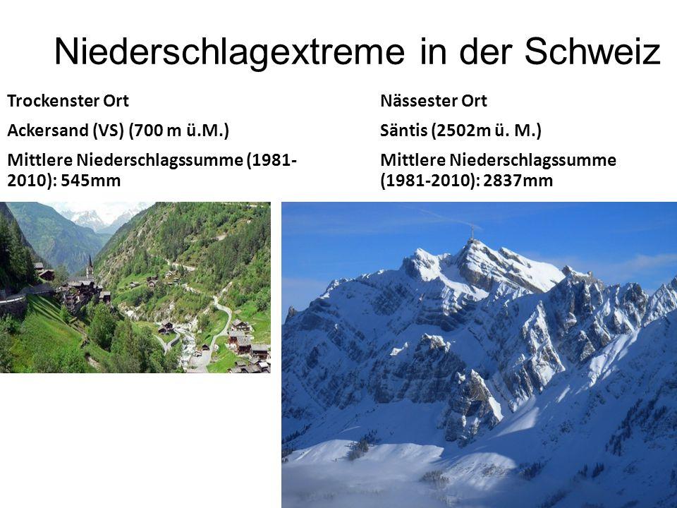 Niederschlagextreme in der Schweiz