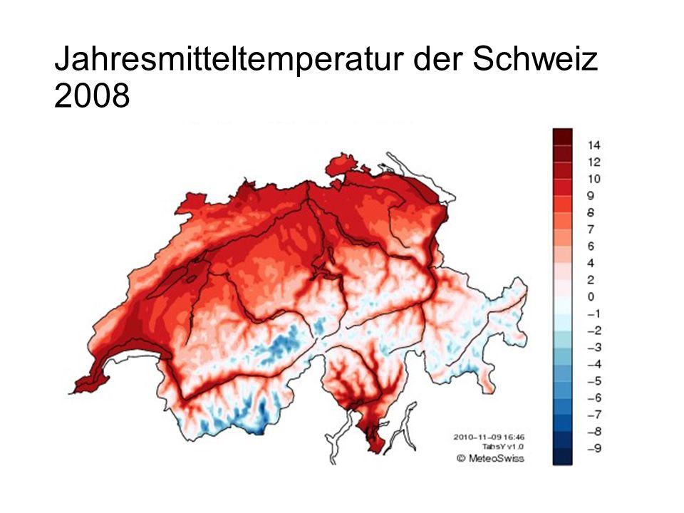 Jahresmitteltemperatur der Schweiz 2008