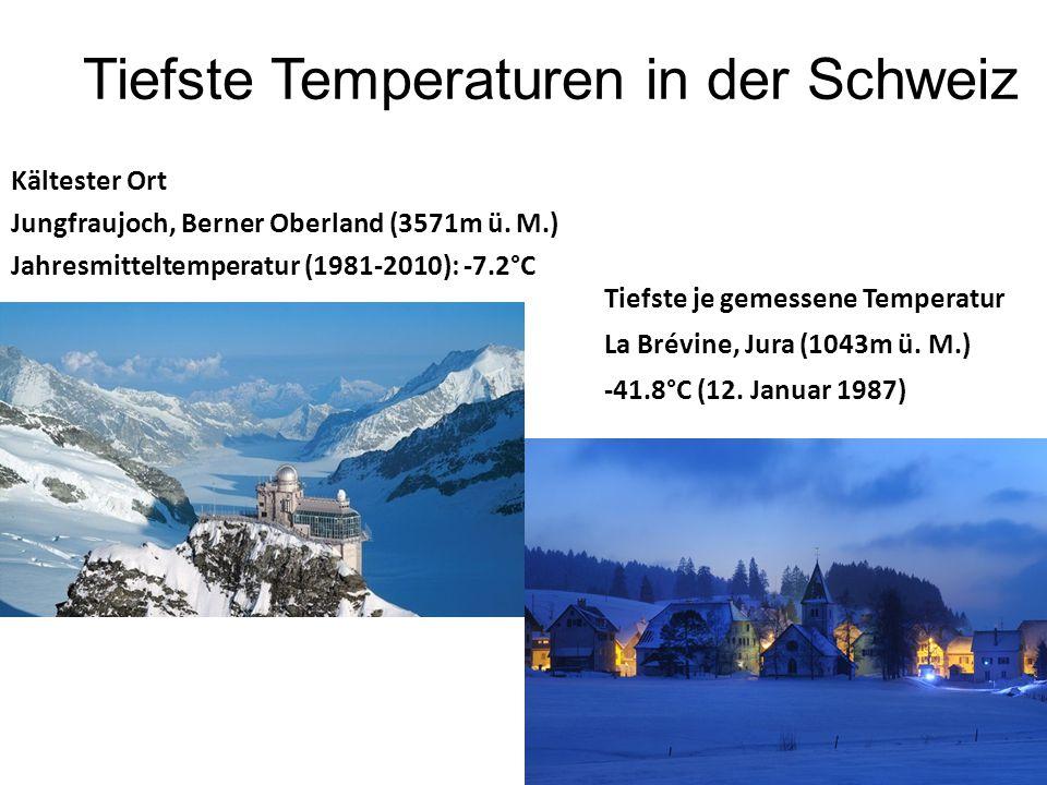 Tiefste Temperaturen in der Schweiz