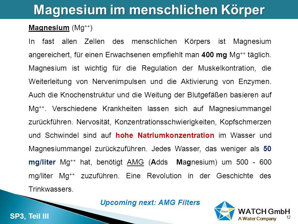 Magnesium im menschlichen Körper Upcoming next: AMG Filters