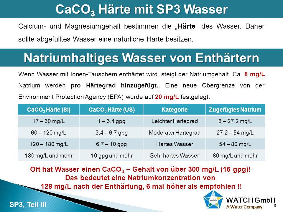 CaCO3 Härte mit SP3 Wasser Natriumhaltiges Wasser von Enthärtern