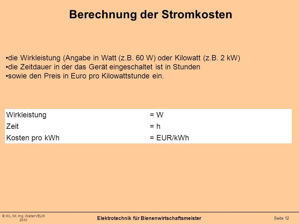 Berechnung der Stromkosten