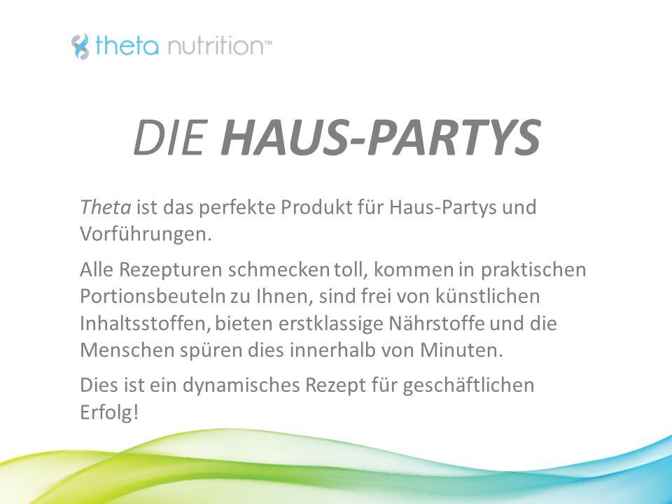 1313 DIE HAUS-PARTYS. Theta ist das perfekte Produkt für Haus-Partys und Vorführungen.